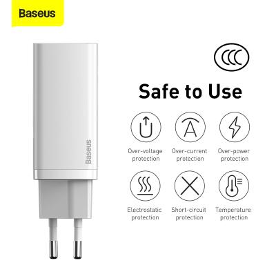 Baseus GaN2 Lite Väggladdare med USB‑C+USB, 65W, EU, vit