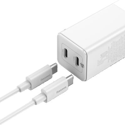 Baseus GaN2 Väggladdare med 2xUSB‑C+kabel, 45W, 3A, vit