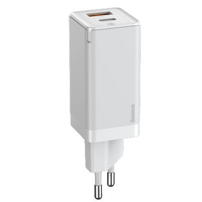 Baseus GaN2 USB‑C och USB Väggladdare+USB‑C kabel, 45W, 3A, vit