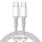 Baseus USB-C till USB-C kabel, snabbladdning, 5A, 1m, vit