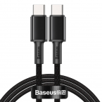 Baseus USB-C till USB-C kabel, snabbladdning, 5A, 1m, svart