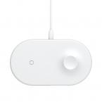 Baseus Smart, 2in1 trådlös laddare för mobil, Apple Watch, vit