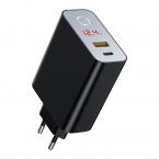 Baseus Speed PPS Laddare QC 3.0, Display, USB-C, USB-A, svart