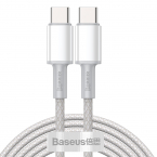 Baseus USB-C till USB-C kabel, snabbladdning, 5A, 2m, vit