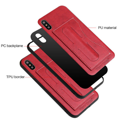Skal med ställ och kortplats, iPhone X/XS, röd
