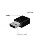 Bluetooth 5.0 Transmitter/Receiver adapter, AUX 3.5mm, svart