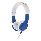 BuddyPhones Explore Vikbara barnhörlurar med mikrofon, blå
