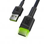 Green Cell Ray USB-C-kabel, QC, Ultra Charge, LED, 120 cm, svart