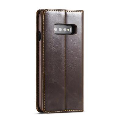 CaseMe Crazy Horse läderfodral, ställ, Samsung Galaxy S10, brun
