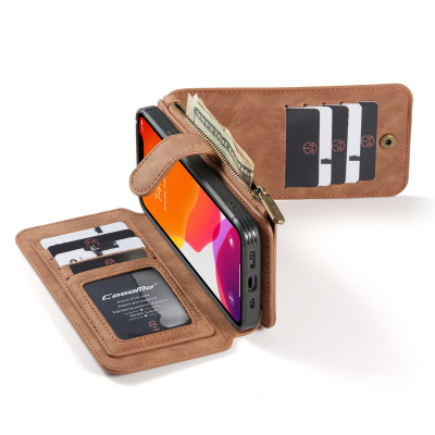 CaseMe läderfodral med magnetskal, iPhone 12/12 Pro, brun