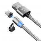 CaseMe Magnetisk kabel med Lightning+USB-C, 2.4A, 1m, silver