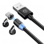 CaseMe Magnetisk kabel, MicroUSB+Lightning+USB-C, 2.4A, svart