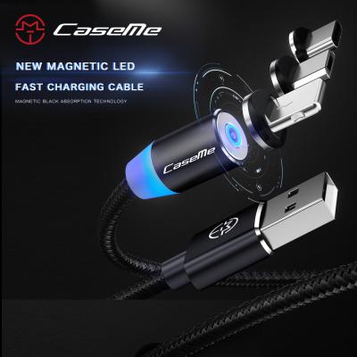 CaseMe Magnetisk kabel, MicroUSB+Lightning+USB‑C, 2.4A, svart