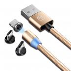 CaseMe Magnetisk kabel, MicroUSB+Lightning+USB-C, 2.4A, guld