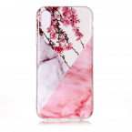 Marmorskal med blommönster till iPhone XR 6.1, rosa