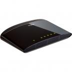 D-Link Switch 5x10/100Mbps, NWay, Uplink, bordsmodell, svart