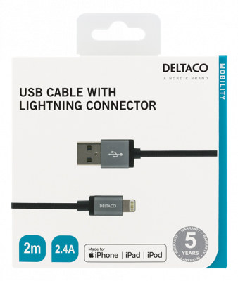 Deltaco Tygklädd Lightning‑kabel, MFi, 2.4A, 2m, svart
