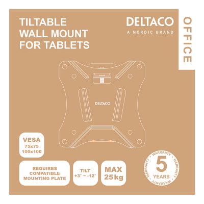 Deltaco Office Kompakt och lutbart väggfäste, VESA 75x75, vit