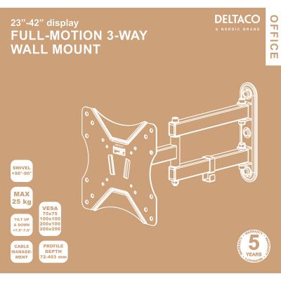Deltaco Office väggfäste, tiltbar, svängbar, 23‑42 tum, 25kg