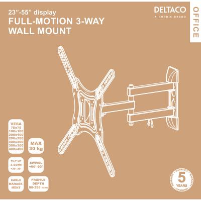 """Deltaco Office väggfäste, tiltbar, svängbar, 23""""‑55"""""""