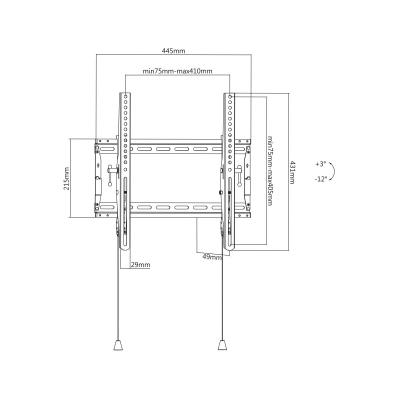 """Deltaco Office tiltbart väggfäste, vikbart, 32""""‑70"""", 70kg, svart"""
