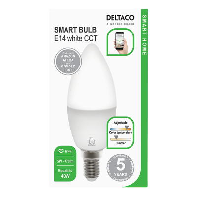Deltaco Smart Home LED‑lampa, E14, WiFi, 5W, 2700K‑6500K, dimbar