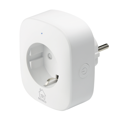 Deltaco Smart Home strömbrytare, WiFi, 1xCEE 7/3, energiöversikt