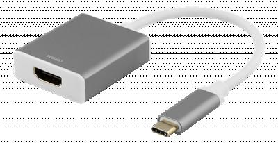 DELTACO USB‑C till HDMI, 4096x2160 i 60Hz, 0.2m, grå