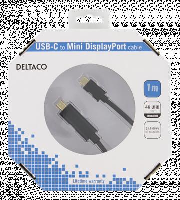 Deltaco USB‑C till MiniDP kabel, 3840x2160, 60Hz, 1m, svart