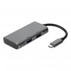Deltaco USB-C 3.1 Gen 2 hubb, 2xUSB-C, 2xUSB-A, grå