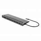 Deltaco USB-C dockningsstation DP/HDMI/VGA/SD/RJ45/PD, grå
