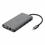 Deltaco USB-C dockningsstation, HDMI/VGA/2xUSB-A, PD3.0, grå