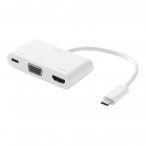 Deltaco USB-C till HDMI/VGA/USB-C-adapter, PD 2.0, vit