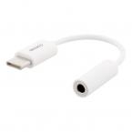 Deltaco USB-C till 3.5mm adapter, stereo, passiv, 9 cm, vit