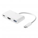 Deltaco USB-C till HDMI/USB-A adapter, PD 3.0, 100W, vit