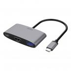 Deltaco USB-C till HDMI/USB-A adapter, 4K 60Hz, PD 3.0, 100W