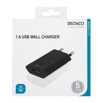 Deltaco USB‑A väggladdare, 1A, 5W, retail, svart