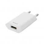 Deltaco USB väggladdare, 1x USB-A, 1A, 5W, retail, vit