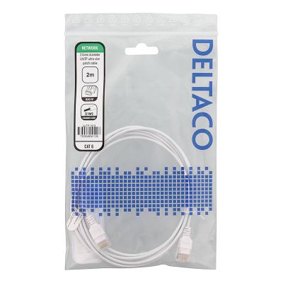 Deltaco Ultra Slim U/UTP Cat.6 patchkabel, 2.6mm, 2m, vit