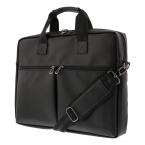"""DELTACO Notebookväska upp till 15.6"""", frontfickor, PU-läder, svart"""