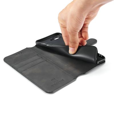 DG.MING Retro fodral, ställ, kortplats, iPhone 8/7 Plus, svart