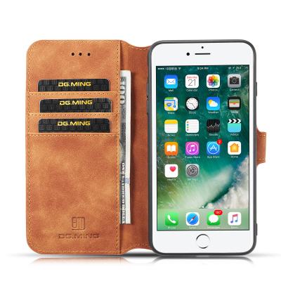 DG.MING Retro fodral, ställ, kortplats, iPhone 8/7 Plus, brun