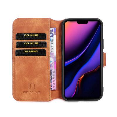 DG.MING Retro fodral, ställ/kortplats, iPhone 11 Pro Max, brun