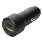 Deltaco Billaddare med USB-C+USB-A, PD, 36W, svart