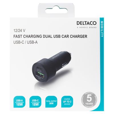 Deltaco Billaddare med USB‑C+USB‑A, PD, 36W, svart