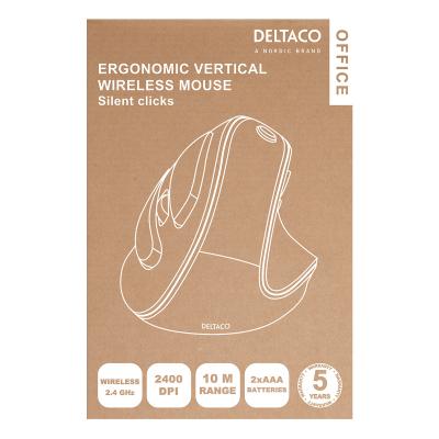 Deltaco Office Trådlös ergonomisk mus, högerhänt, 2.4GHz