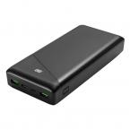 Deltaco Powerbank med snabbladdning, USB-C+USB-A, 30 000mAh
