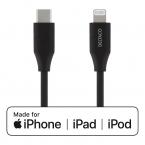 Deltaco USB-C till Lightning kabel, 0.25m, 5V/3A PD, svart
