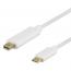 Deltaco USB‑C till MiniDP‑kabel, 3840x2160 60Hz, 2m, vit