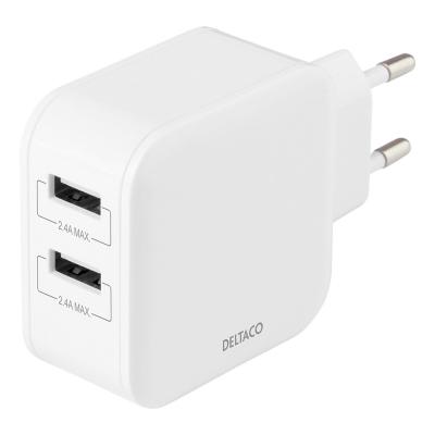 Deltaco Väggladdare med dubbla USB‑A portar, 4.8A, 24W, vit